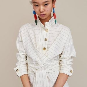 Zara XS Midi Wrap linen Stripes Collar Dress